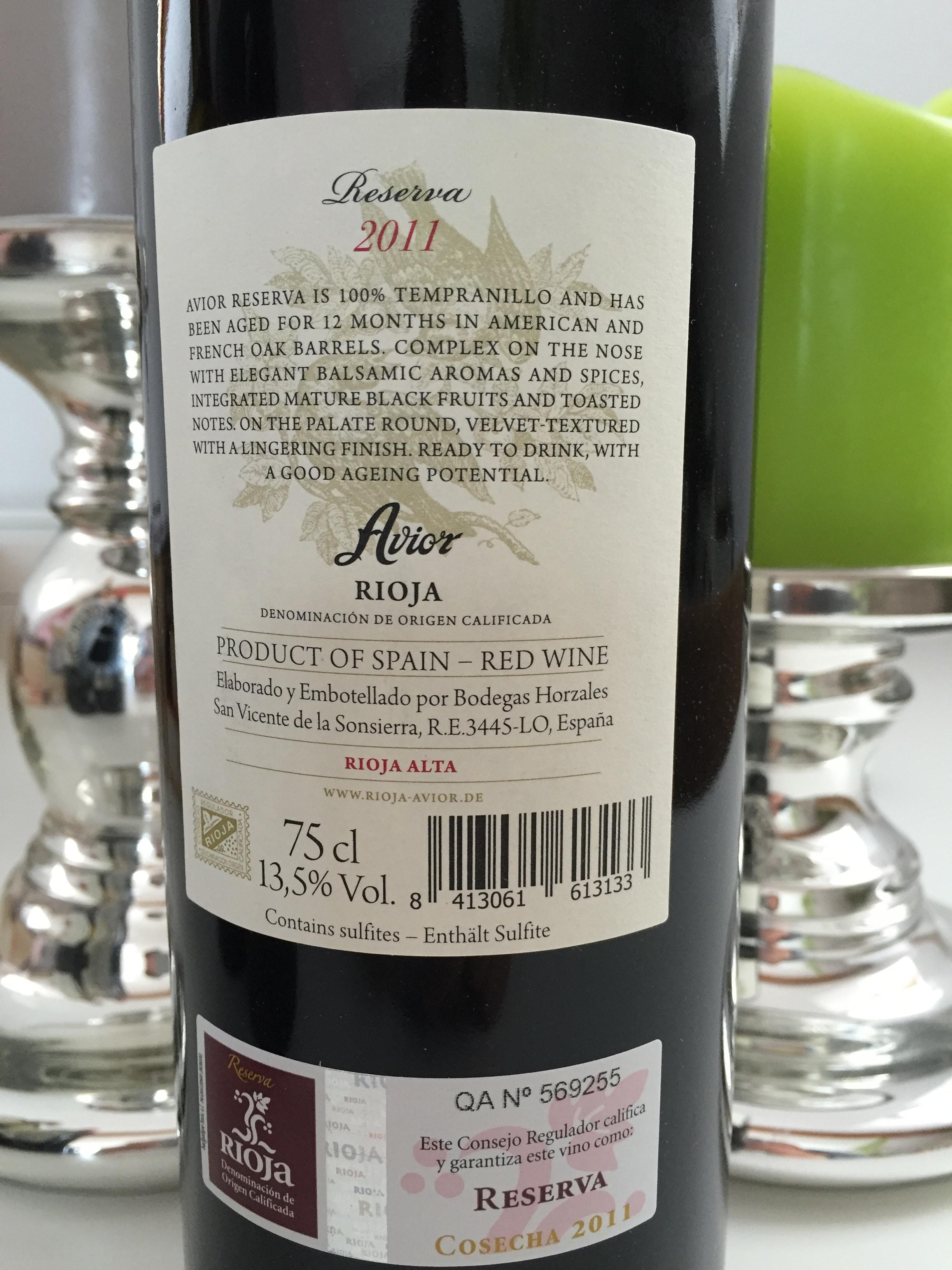 Avior Rioja Reserva Rückseite