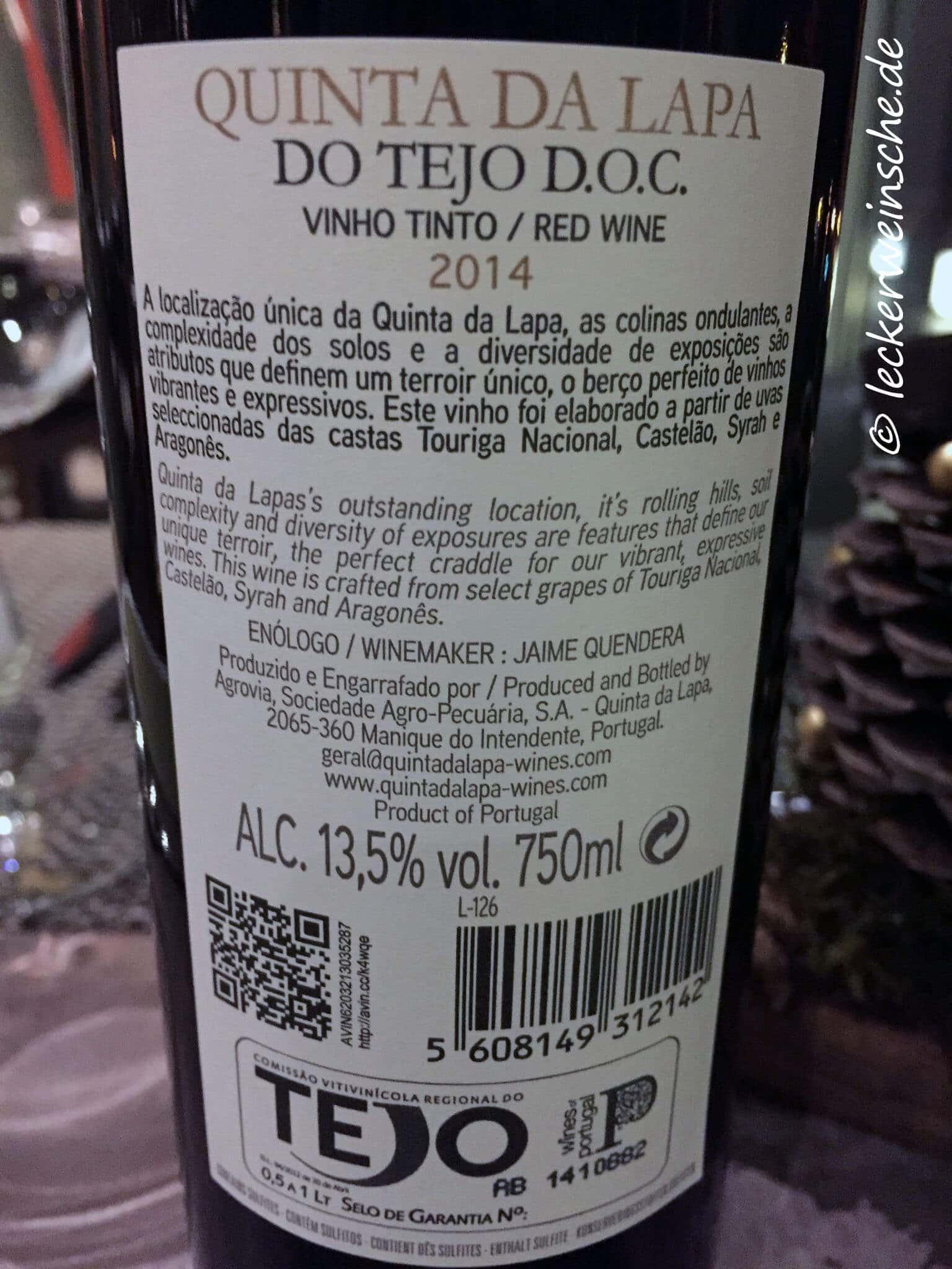 quinta da lapa rotwein vinho